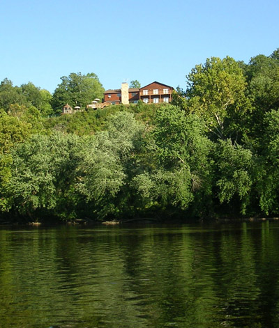 View of lodge over James River